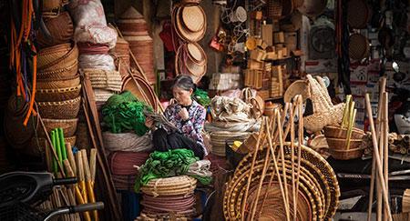 Food-Markt in der Altstadt von Hanoi, Vietnam