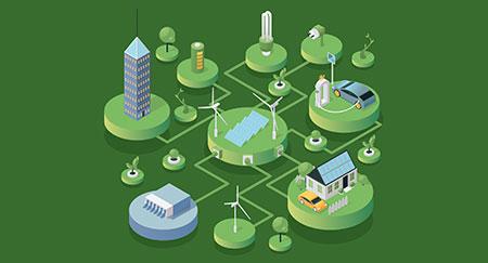 Moderne, nachhaltige und umweltfreundliche Technologien in einer isometrischen Vektorillustration