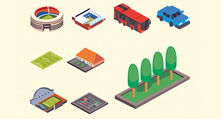 Vektorsymbole von Sportstadien, Parkplätzen und Fahrzeugen
